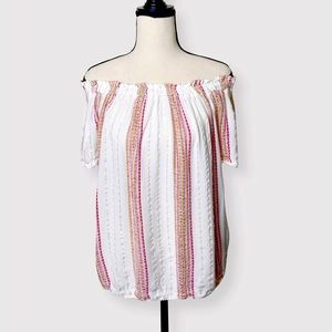 MAURICES pink/gold/white off the shoulder top Sz M